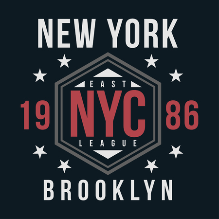 New York, Brooklyn typography for t-shirt print. Vintage badge for t shirt print. Varsity style. Vector