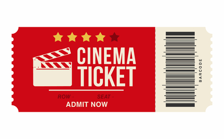 Cinema ticket isolated on white background. Realistic cinema or movie ticket template. Vector
