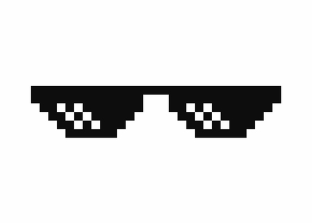 Pixel art glasses. Thug life meme glasses isolated on white background. Vector Ilustração