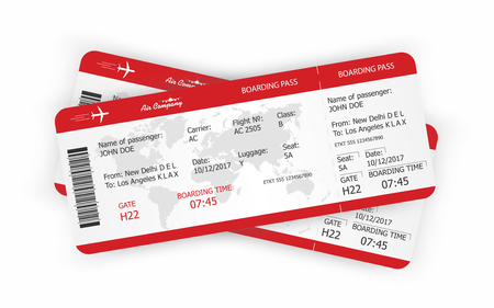 Airplane tickets in isolated background. Boarding pass tickets template. Vector