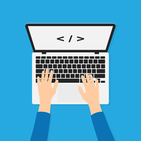 Developer, programmer working with laptop and typing code. Programming and coding background concept. Hands on laptop in top view. Vector Illustration