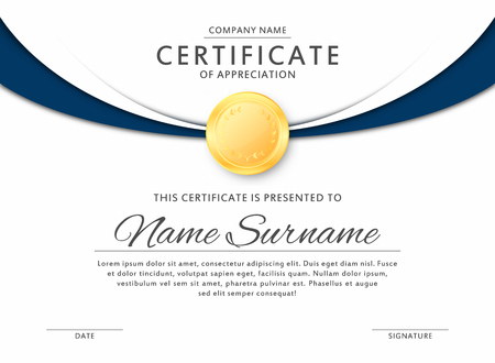 Certificate Template In Elegant Black And Blue Colors With Golden