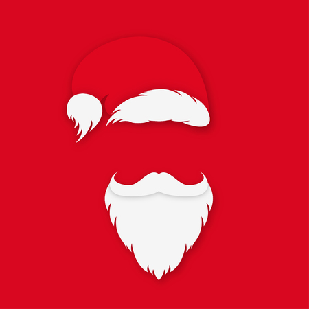 Santa Claus in hat on red background. Santa Claus with white beard and mustache in origami style. Vector Stock Illustratie