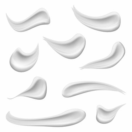 Conjunto de crema cosmética blanca. La crema cosmética realista de la piel, el gel o la espuma caen aislada en el fondo blanco. Vector Ilustración de vector