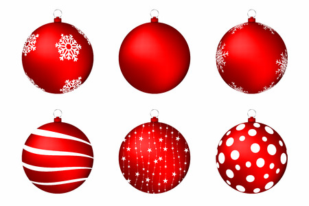 red christmas balls isolated on white background set of christmas balls with snowflakes circles