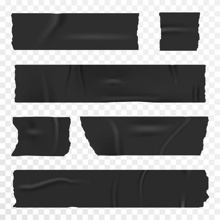 透明な背景に粘着テープをセット。リアルなダクトテープ、スコッチストライプ。ベクトル