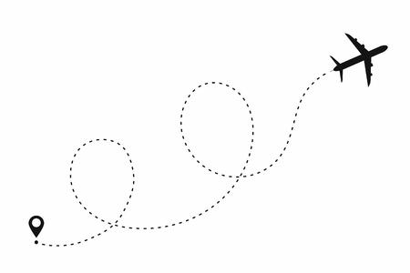 Percorso dell'aeroplano a forma di linea tratteggiata. Itinerario dell'aereo isolato su fondo bianco. Vettore