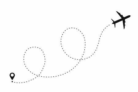 Airplane path in dotted line shape. Route of plane isolated on white background. Vector