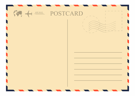 Vintage postcard template. Retro airmail envelope with stamp, airplane and globe. Vector