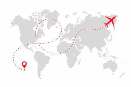 Airplane path in dotted line shape on world map. Route of plane with world map, isolated on white background.