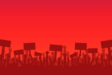Menschenmenge der Demonstranten. Silhouetten von Menschen mit Banner und Megaphonen. Konzept der Revolution oder des Protests. Standard-Bild - 92248302