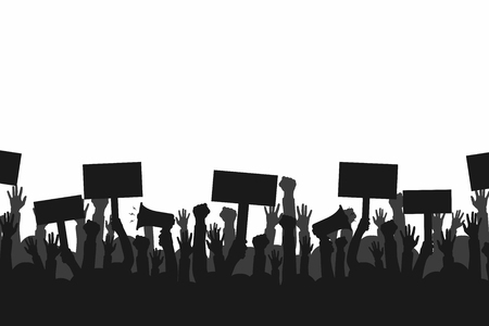 Crowd of protesters people. Silhouettes of people with banners and megaphones. Concept of revolution or protest. Stock Illustratie