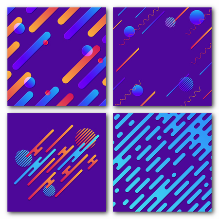 Set of abstract geometric backgrounds. Modern dynamic pattern. Rounded diagonal lines with circles and waves. Trendy background for poster, banner, cover. Vector Illusztráció