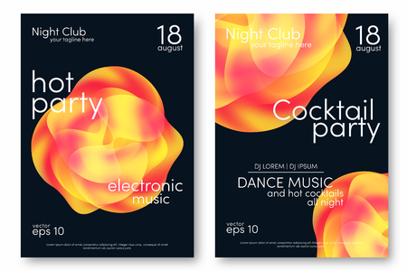 Dance party and cocktail party poster. Music poster background template with abstract shapes. Trendy flyer design. Vector