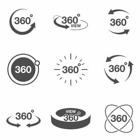 360 degree view related icon set. Signs and arrows for indicate the rotation and panorama, VR technology icons vector.