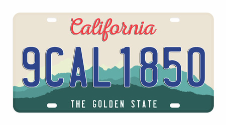 License plate isolated on white background. California license plate with numbers and letters. Badge for t-shirt graphic.