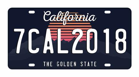 Placa de licença isolada no fundo branco. Placa de Califórnia com números e letras. Distintivo para gráfico de t-shirt.
