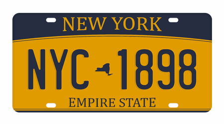 License plate isolated on white background. New York license plate with numbers and letters. Badge for t-shirt graphic.