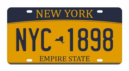 Nummerplaat op witte achtergrond wordt geïsoleerd die. New York nummerplaat met cijfers en letters. Kenteken voor grafische t-shirt. Vector Illustratie