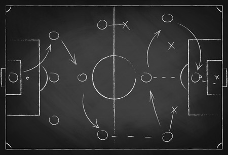 Soccer tactic scheme on chalkboard. Football team strategy for the game. Hand drawn soccer field background. Vector Stock Illustratie
