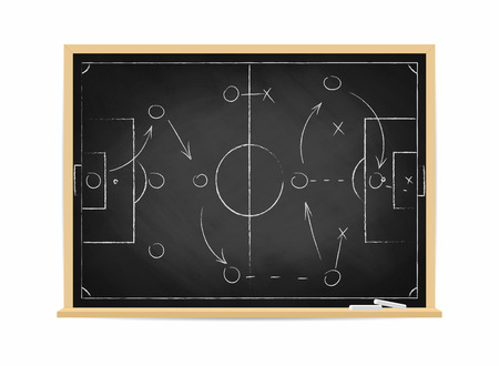 Soccer tactic scheme on chalkboard. Football team strategy for the game. Hand drawn soccer field background. Vector illustration.
