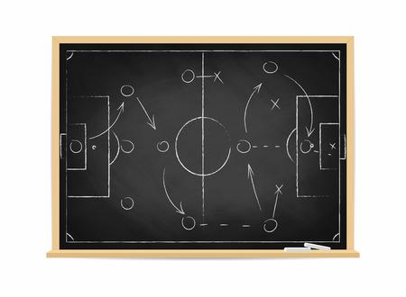 Schema di tattica di calcio sulla lavagna. Strategia della squadra di calcio per il gioco. Sfondo di campo di calcio disegnato a mano. Illustrazione vettoriale