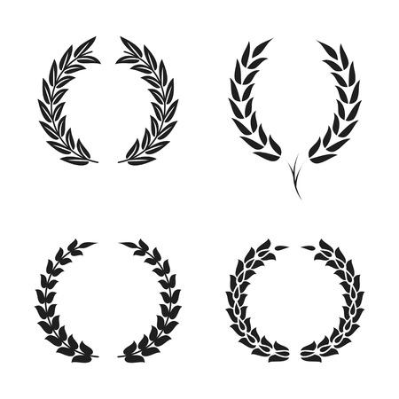 Laurel wreath foliate symbols set. Black circular silhouettes of laurel wreath with leaves for award, achievement. Vector