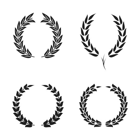 Laurel wreath foliate symbols set. Black circular silhouettes of laurel wreath with leaves for award, achievement. Vector
