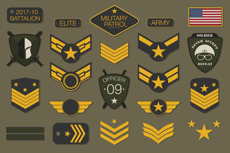 Military badges and army patches typography. Military embroidery chevron and pin design for t-shirt graphic. Vector