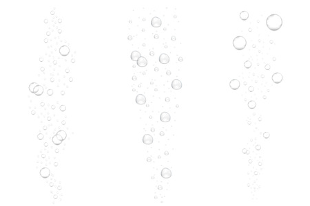 Realistic underwater fizzing air bubbles isolated on white background. Sparkling water, air bubbles in aquarium, soda drink vector illustration.