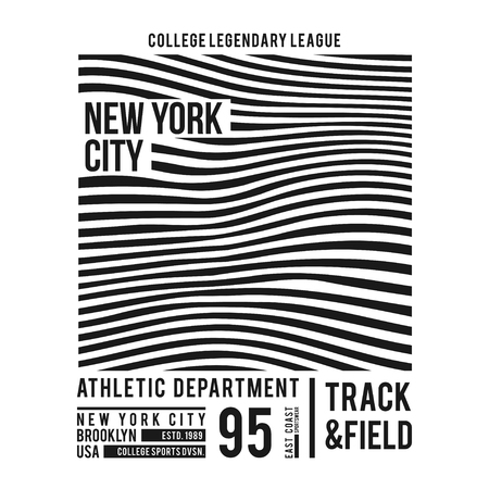 New York typography for t-shirt print. Abstract lines with text for modern tee shirt graphics in varsity style. Vector illustration. Vettoriali