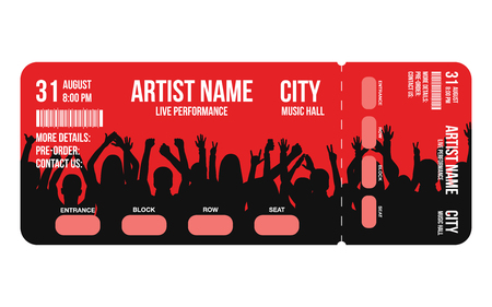 Concert ticket template. Concert, party or festival ticket design template with people crowd on background. Entrance to the event. Vector