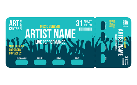 Concert ticket template. Concert, party or festival ticket design template with people crowd on background. Entrance to the event. Vector Reklamní fotografie - 96805142