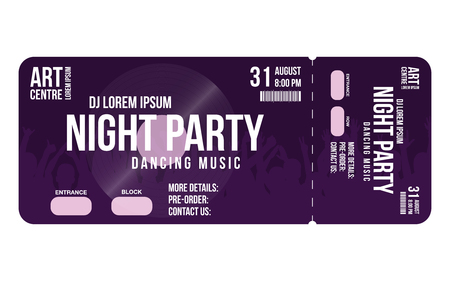 Concert ticket template. Concert, party or festival ticket design template with people crowd on background. Entrance to dj party. Vector