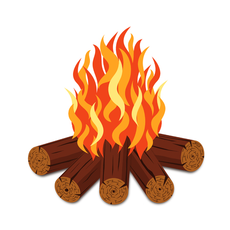 Campfire with firewood and flame torch in cartoon style. Bonfire with woodpile isolated on white background. Vector Vettoriali
