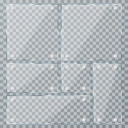 Glass plate set on transparent background. Empty realistic acrylic plates with metal clamps. Vector