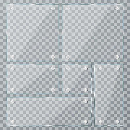Lastra di vetro impostata su sfondo trasparente. Piatti acrilici realistici vuoti con fascette metalliche. Vettore