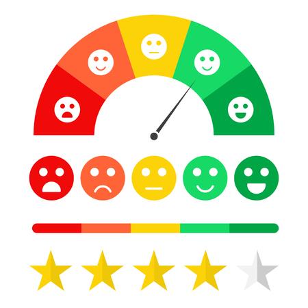 Concepto de retroalimentación del cliente. Escala de emoticonos y calificación de satisfacción. Encuesta para clientes, concepto de sistema de calificación, estrellas, emojis en diferentes estados de ánimo. Vector