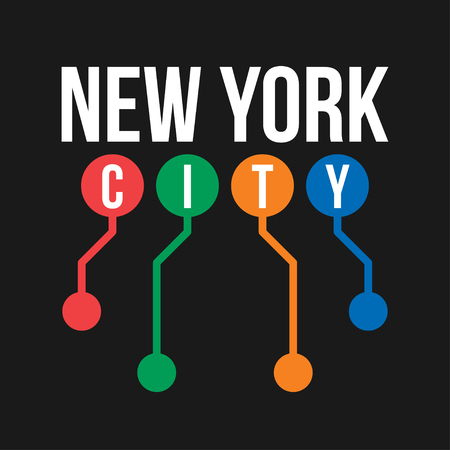 T-shirt design in the concept of New York City subway. Cool typography with abstract New York subway map for shirt print. T-shirt graphic in urban and street style. Vector