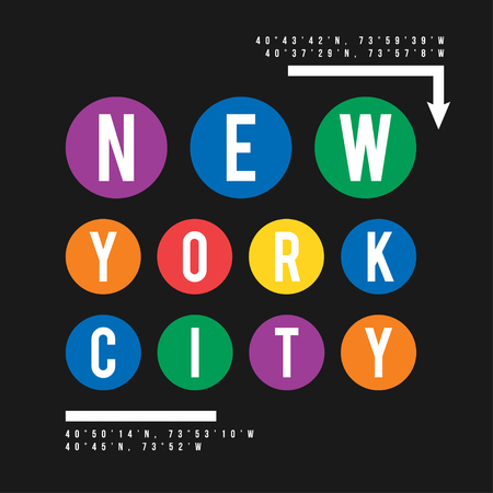 T-shirt design in the concept of New York City subway. Cool typography with for shirt print. T-shirt graphic in urban and street style.
