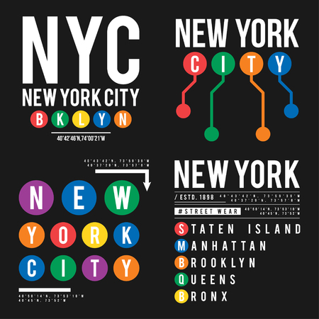 T-shirt design in the concept of New York City subway. Cool typography with boroughs of New York for shirt print. Set of t-shirt graphic in urban and street style.