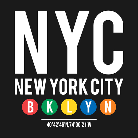 T-shirt design in the concept of New York City subway. Cool typography with borough Brooklyn for shirt print. T-shirt graphic in urban and street style. Vector Illustration