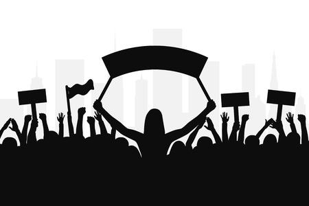 Menigte van demonstranten mensen. Silhouetten van mensen met banners en met opgeheven handen. Concept van revolutie en politiek of sociaal protest. Vector Vector Illustratie