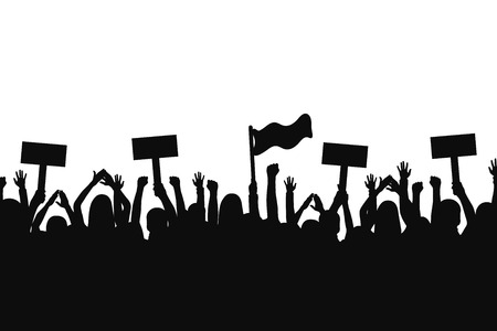Crowd of protesters people. Silhouettes of people with banners and with raised up hands. Concept of revolution and political or social protest. Vector 일러스트