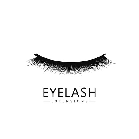 Eyelash logo template. Eyelash extension concept. Lush black lashes on white background for makeup and cosmetic industry. Vector
