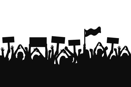Crowd of protesters people. Silhouettes of people with banners and with raised up hands. Concept of revolution and political or social protest. Vector  イラスト・ベクター素材