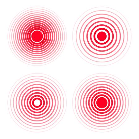 Zestaw ikon koncentracji bólu. Czerwone, przezroczyste kółka, symbole koncentracji bólu przy lekach przeciwbólowych. Ilustracje wektorowe