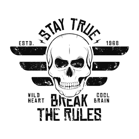 T-shirt design with skull and wings. Vintage typography for tee print with slogan stay true and break the rules. T-shirt graphic. Vector