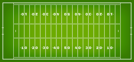 American football field with marking. Football field in top view with white markup. Vector Çizim