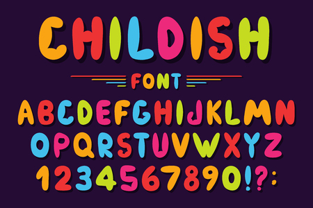 Children's font in cartoon style. Colorful bubble alphabet with numbers for toys and games. Playful hand drawn kids font. Vector